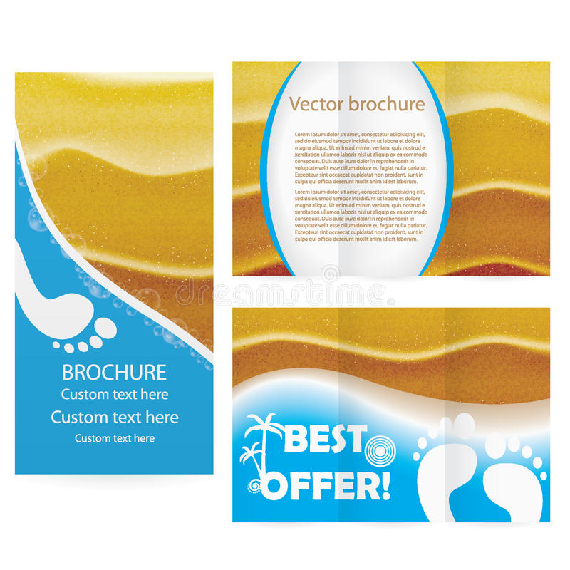 Brochure with ealistic sand in sunset lights illus royalty free illustration