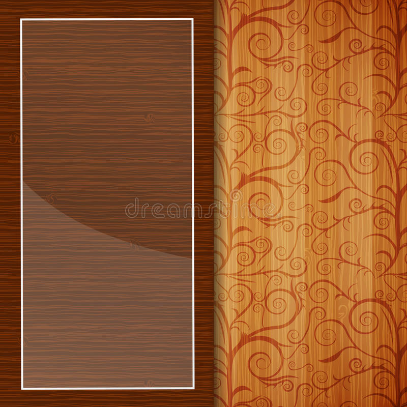 Brochure en bois avec l'ornement floral illustration stock