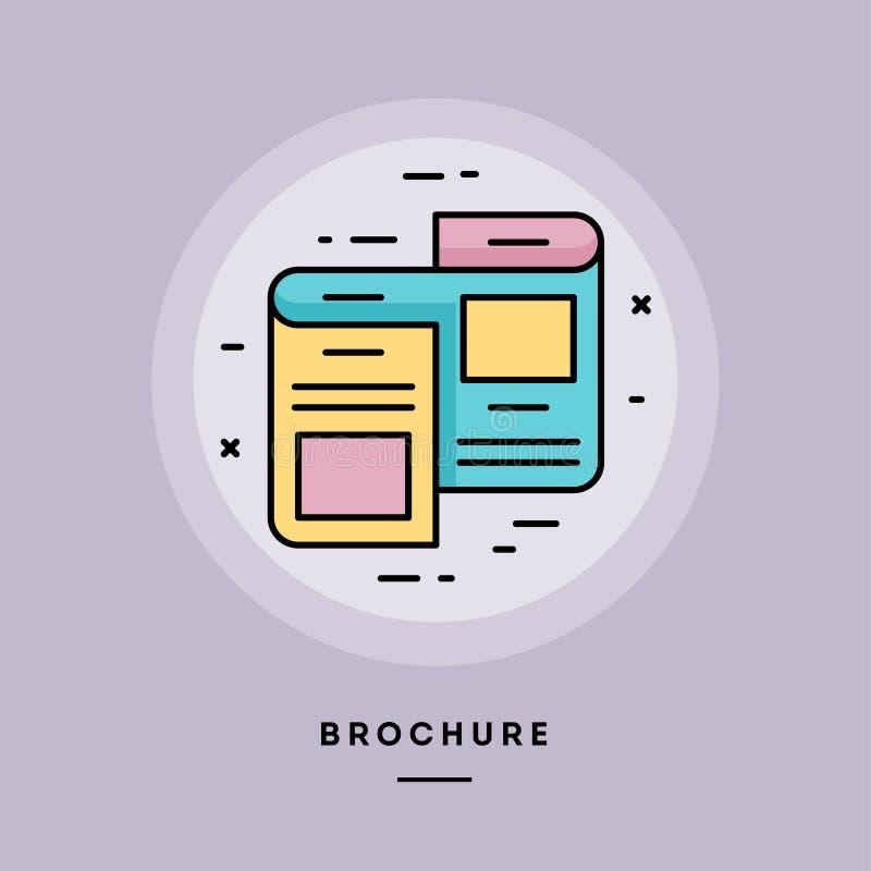 Brochure, flat design thin line banner. Vector illustration. royalty free illustration