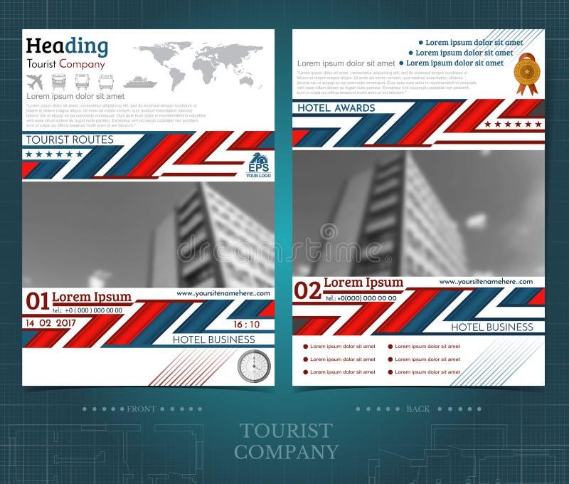 Brochure of flayer malplaatjeontwerp met twee kanten met buitenkant vage zwart-witte fotoelementen Prototypedekking in blauw-rode vector illustratie