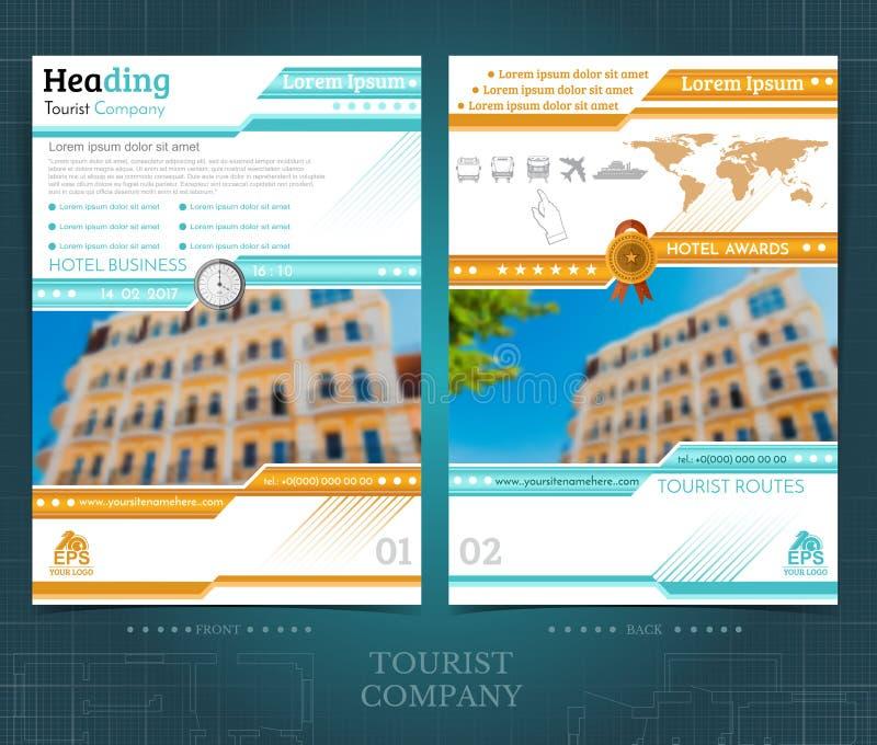 Brochure of flayer malplaatjeontwerp met twee kanten met de buitenkant vage elementen van de kleurenfoto Prototypedekking in blau royalty-vrije illustratie