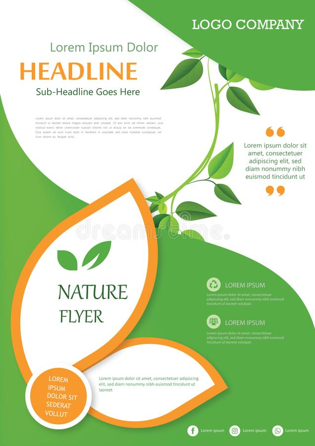 Brochure Flyer Cover Template Nature Layout book Leaves royalty free stock photography