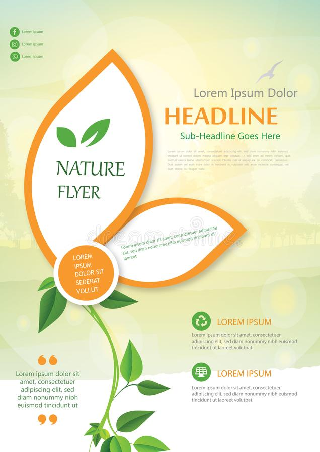 Brochure Flyer Cover Template Nature Layout Leaflet Leaves stock photo