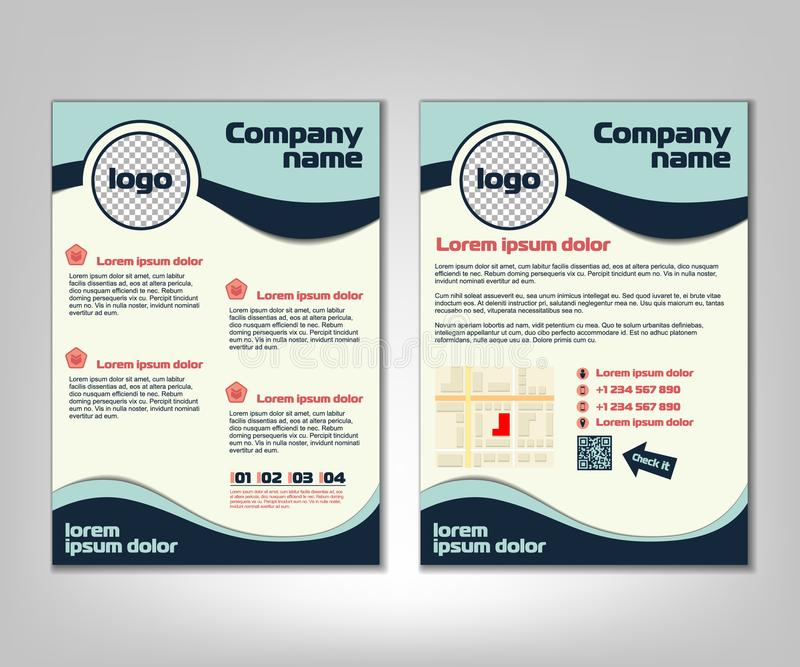 Brochure flyer design layout template. Front and back page in A4 size. Business background with marketing icons and infographic el. Ements. Vector illustration royalty free illustration