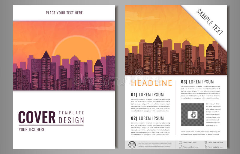 download brochure flyer design template leaflet cover presentation with flat city landscape background layout