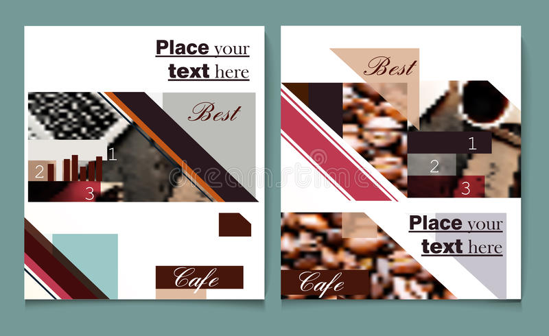 Brochure or flyer design template vector cover presentation abstract style with coffee design royalty free illustration