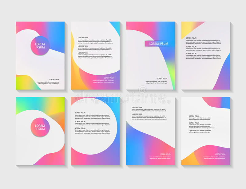 Brochure flyer layouts with abstract colorful background vector illustration