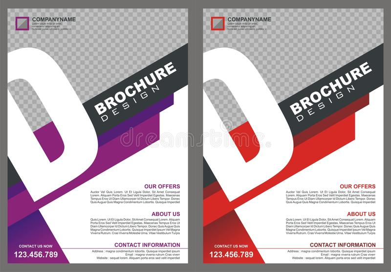 Brochure - Flyer with letter `D` logo style cover. With two color choices, simple - modern and luxury design vector illustration