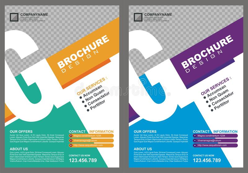 Brochure - Flyer with letter `G` logo style cover. With two color choices, simple - modern and luxury design stock illustration
