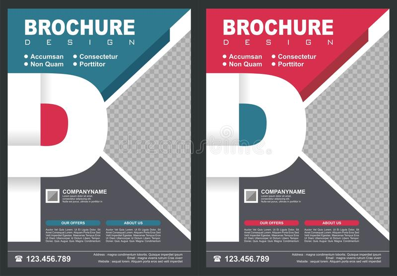Brochure - Flyer with letter `P` logo style cover. With two color choices, simple - modern and luxury design stock illustration