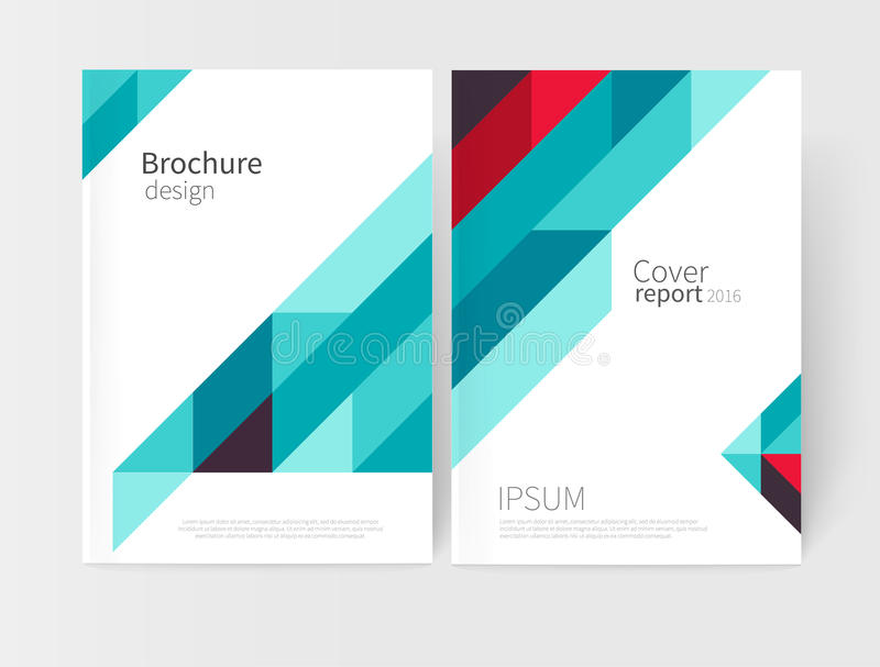 Brochure, flyer, poster, annual report cover template. Geometric Absract background. blue and red diagonal lines. Brochure, flyer, poster, annual report cover stock illustration
