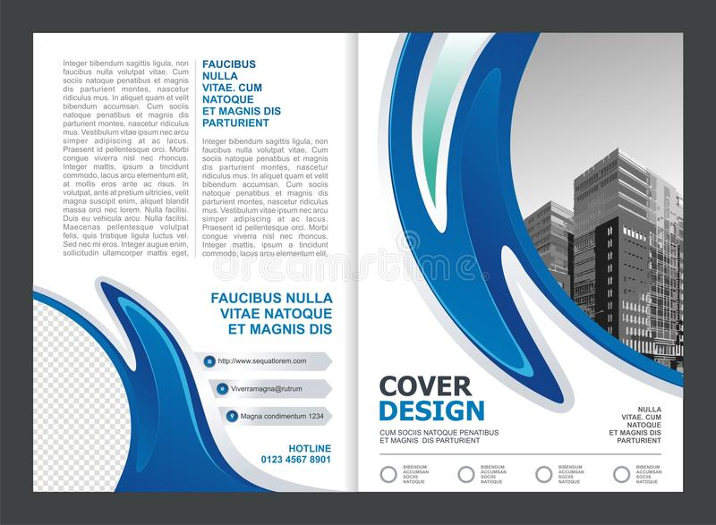 Brochure, Flyer, Template Design with Blue and White color. Simple, modern and trendy design stock illustration