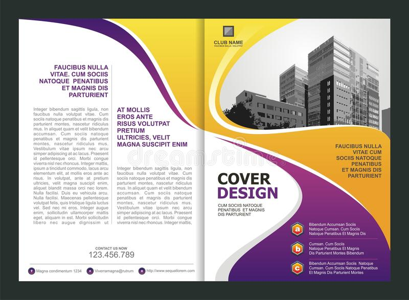 Brochure Flyer Template Design With Purple And Yellow Color Stock