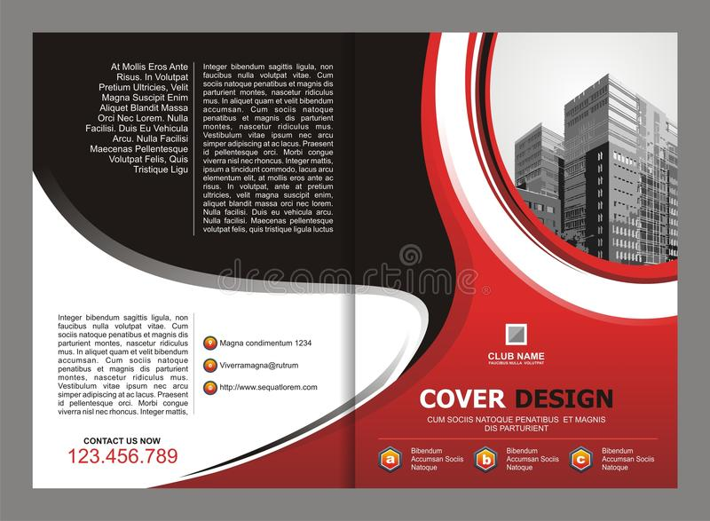 Brochure Flyer Template Design With Red And Black Color Stock