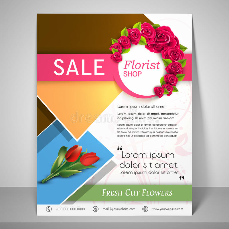 Brochure, Flyer And Template For Florist Shop. Stock