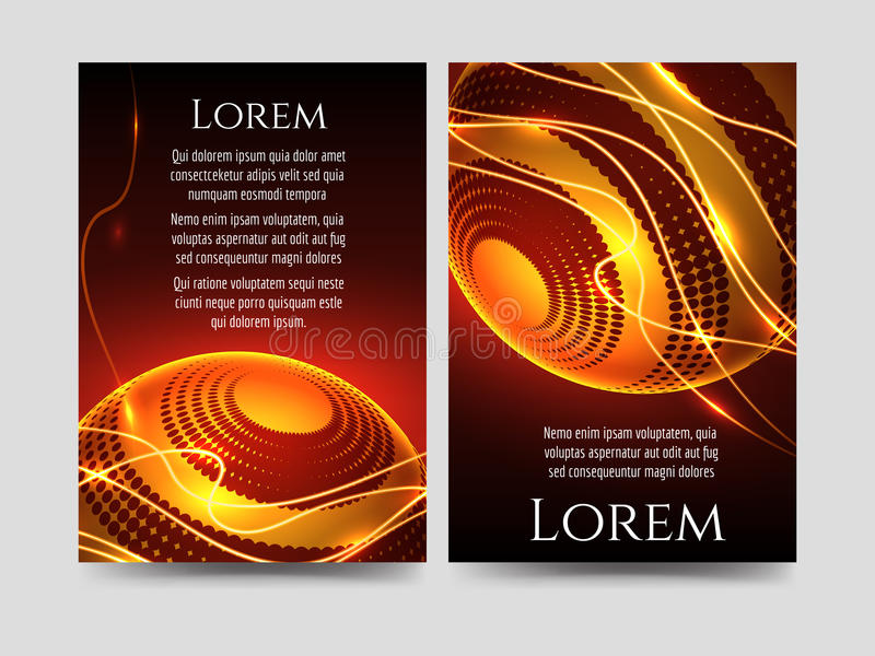 Brochure flyers template with light sphere vector illustration