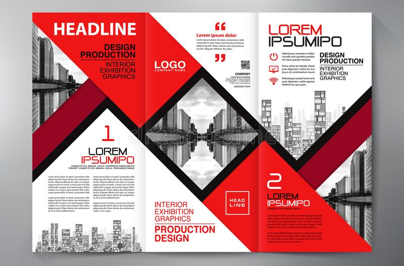 Brochure 3 fold flyer design a4 template. Business Brochure. Flyer Design. Leaflets 3 fold Template. Cover Book and Magazine. Annual Report Vector illustration royalty free illustration