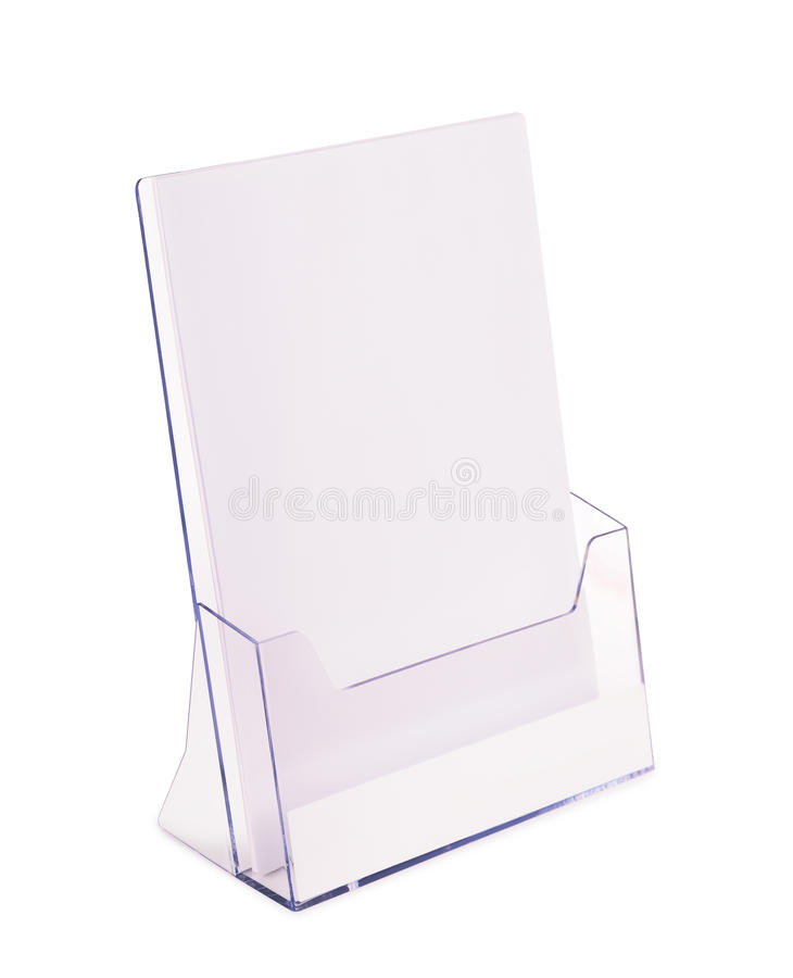 Brochure holder. Acrylic brochure holder isolated on white royalty free stock images