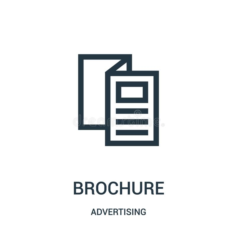 brochure icon vector from advertising collection. Thin line brochure outline icon vector illustration royalty free illustration