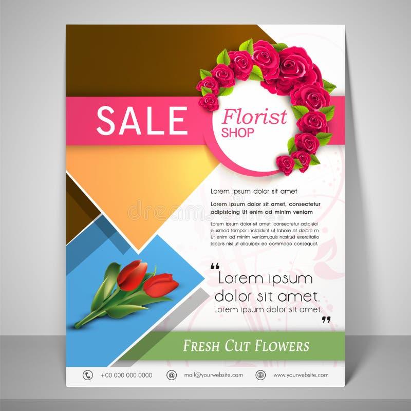Brochure, insecte et calibre pour le fleuriste illustration stock