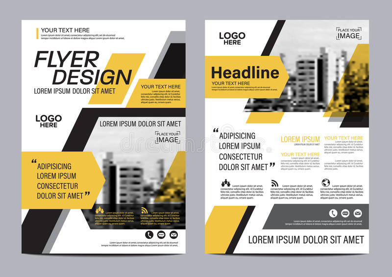 Brochure Layout design template. Annual Report Flyer Leaflet cover Presentation Modern background. illustration in A4. Yellow Brochure Layout design template royalty free illustration