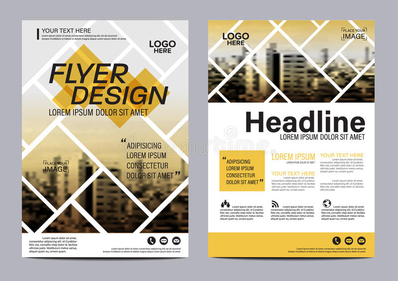 Brochure Layout design template. Annual Report Flyer Leaflet cover Presentation Modern background. illustration in A4. Yellow Brochure Layout design template vector illustration