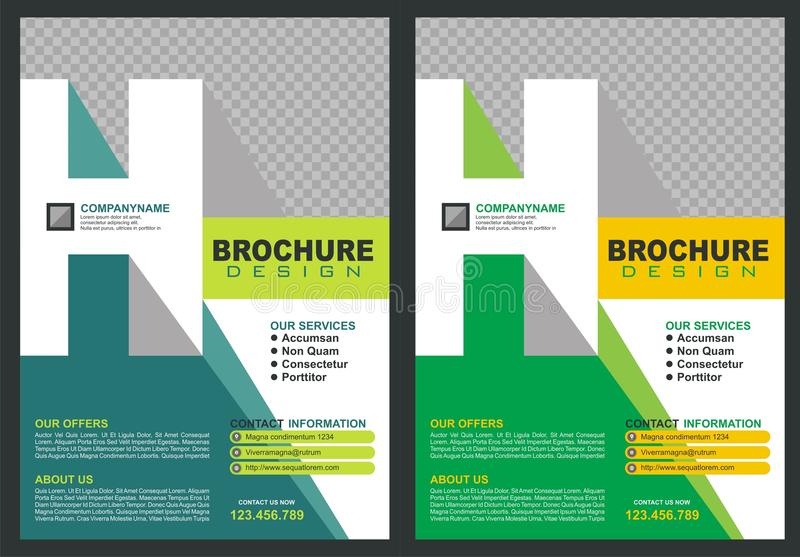 Brochure with letter `H` logo style cover. With two color choices, simple - modern and luxury design vector illustration