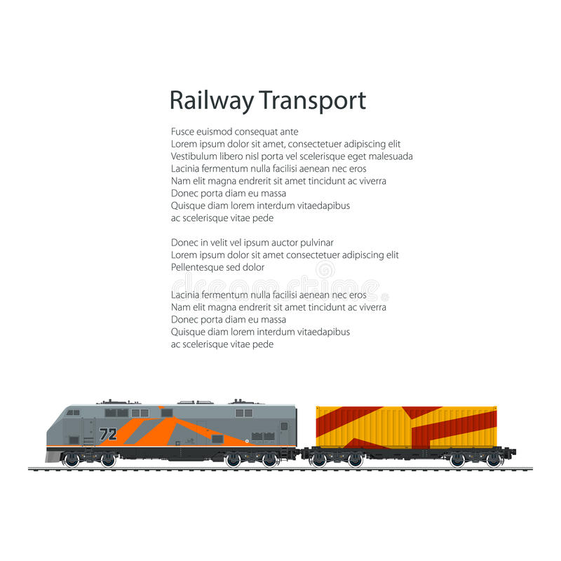Brochure Locomotive with Orange Cargo Container. On Railroad Platform Isolated on White Background and Text , Rail Freight, Poster Flyer Design, Vector vector illustration