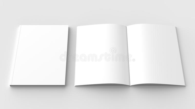Brochure, magazine, book or catalog mock up isolated on soft gray background. 3D illustrating. royalty free illustration