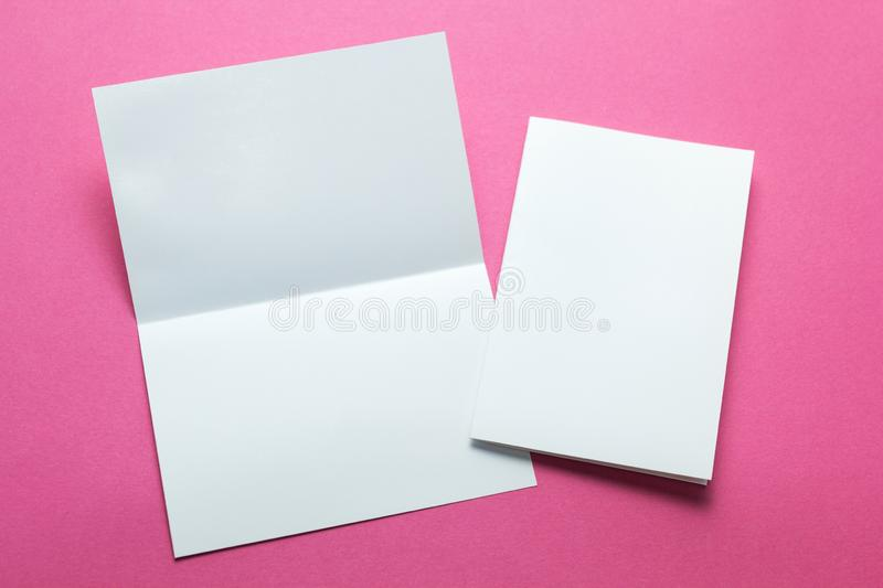 Brochure magazine or paper flyer isolated on pink background. mockup.  stock images
