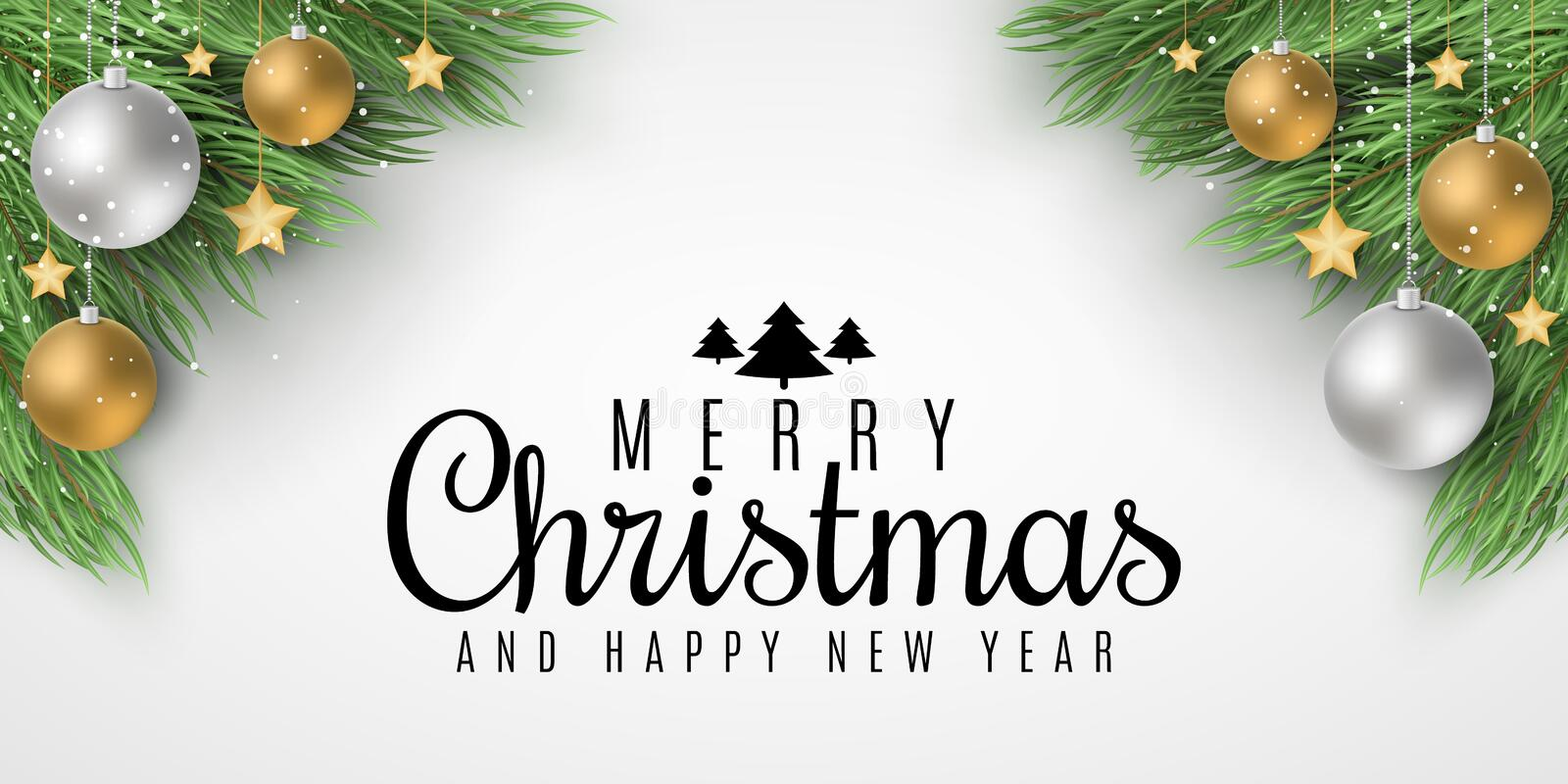 Brochure for Merry Christmas and Happy New Year. Fir tree with festive balls and golden stars. Greeting card. Beautiful lettering royalty free stock photo
