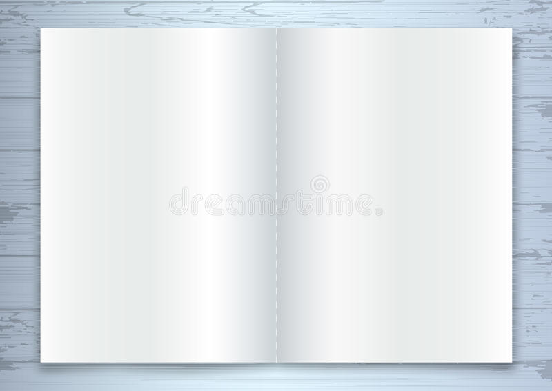 Brochure Mock-up, Blank opened catalog or magazine template. On a wooden background with soft shadows. Ready for your design, all elements and easily editable vector illustration
