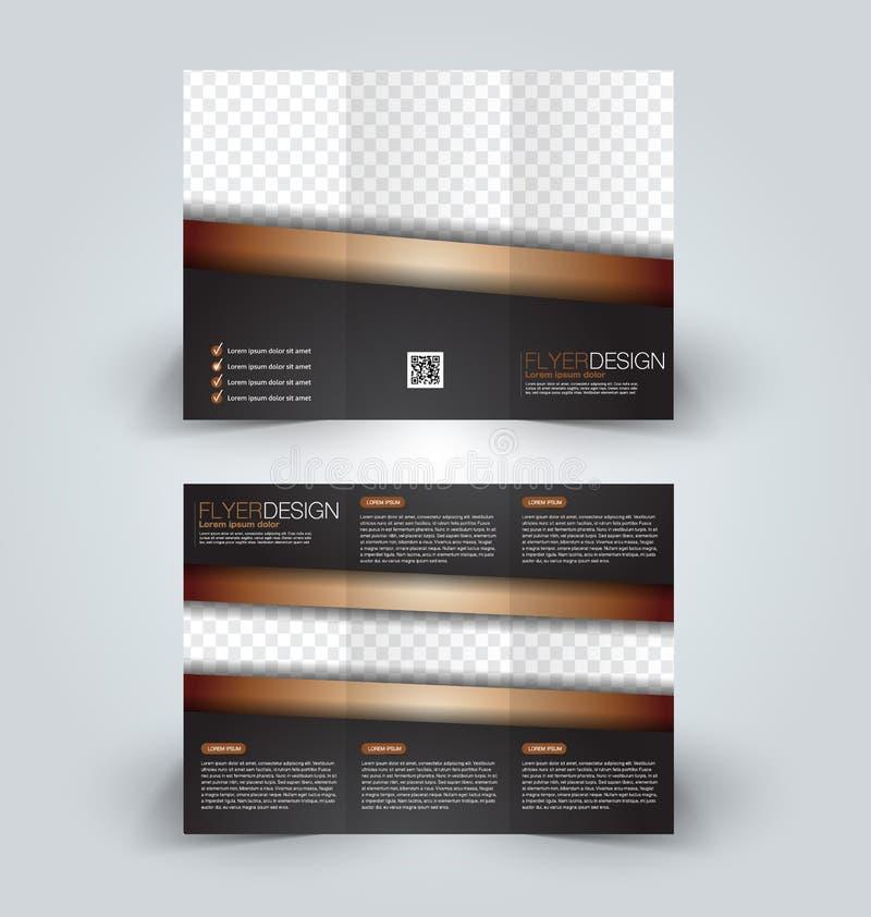 Brochure mock up design template for business, education, advertisement. Trifold booklet. Editable printable vector illustration. Black and golden color vector illustration