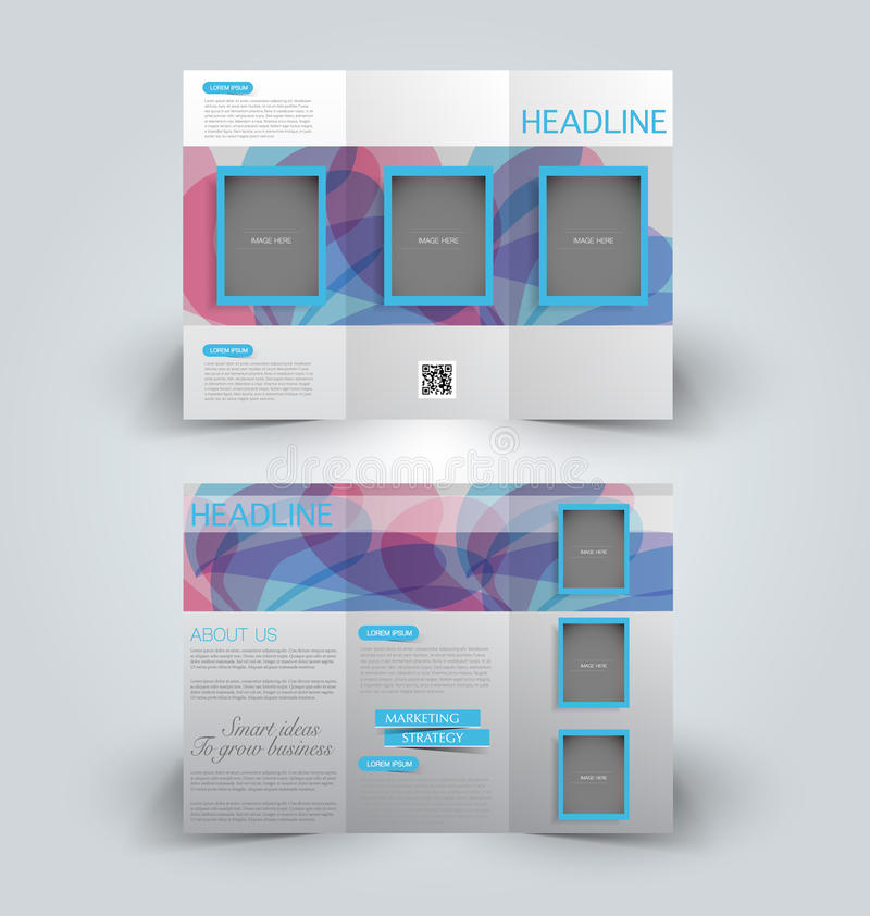 Brochure mock up design template for business, education, advertisement. Trifold booklet. Editable printable vector illustration. Blue and pink color vector illustration