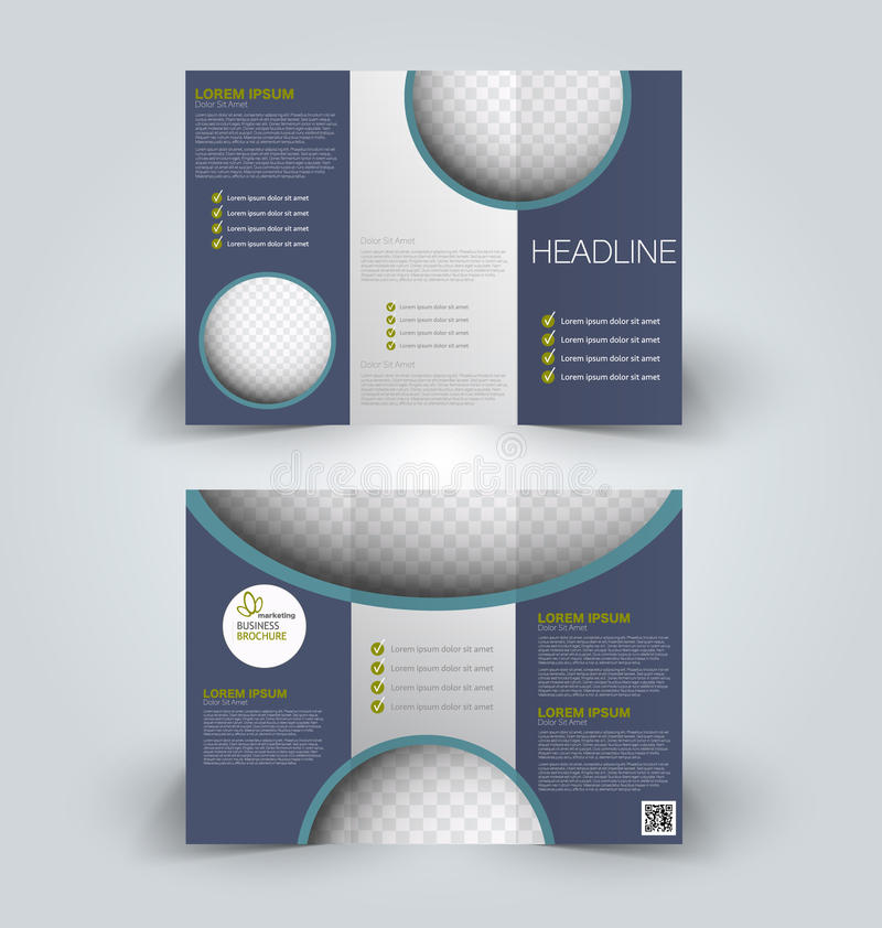 Brochure mock up design template for business, education, advertisement. Trifold booklet. Editable printable vector illustration. Blue and green color vector illustration