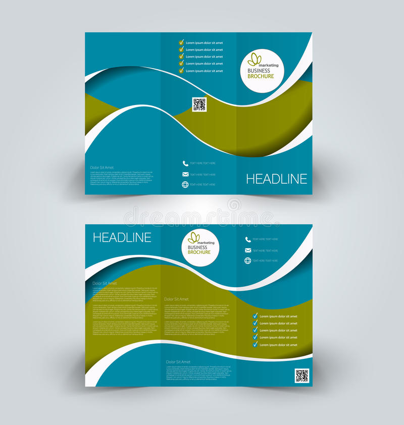 Brochure mock up design template for business, education, advertisement. Trifold booklet. Editable printable vector illustration. Blue and green color royalty free illustration