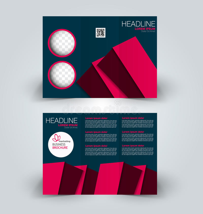 Brochure mock up design template for business, education, advertisement. Trifold booklet. Editable printable vector illustration. Blue and red color royalty free illustration