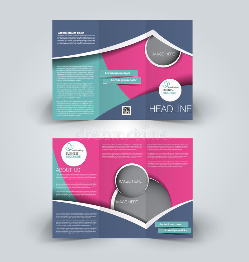 Brochure mock up design template for business, education, advertisement. Trifold booklet. Editable printable vector illustration. Blue, pink , and green color royalty free illustration