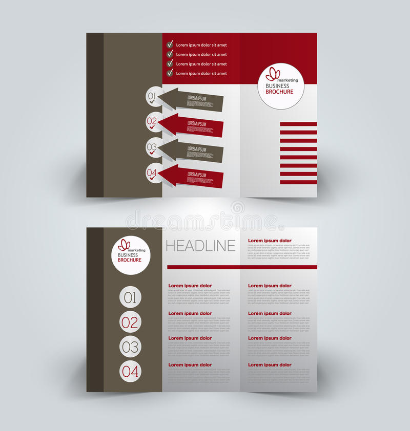 Brochure mock up design template for business, education, advertisement. Trifold booklet. Editable printable vector illustration. Brown and red color royalty free illustration