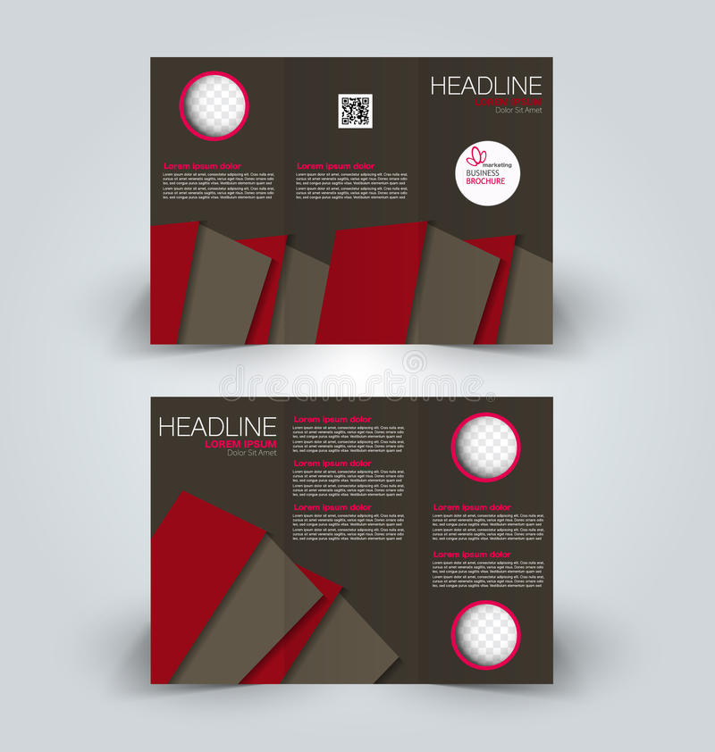 Brochure mock up design template for business, education, advertisement. Trifold booklet. Editable printable vector illustration. Brown and red color vector illustration