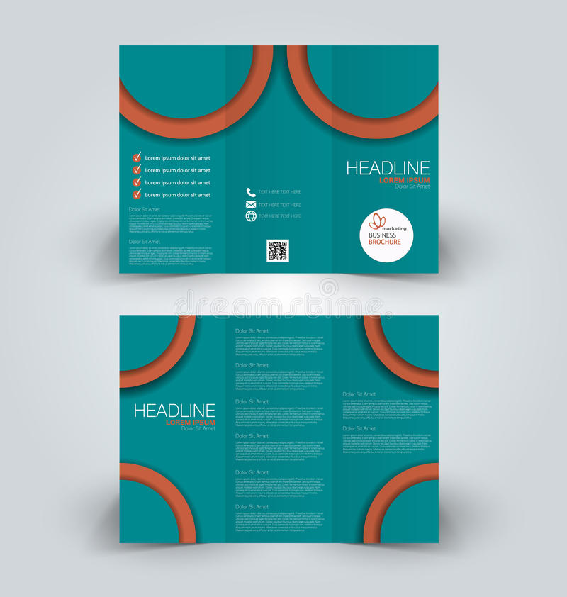 Brochure mock up design template for business, education, advertisement. Trifold booklet. Editable printable vector illustration. Green and brown color royalty free illustration