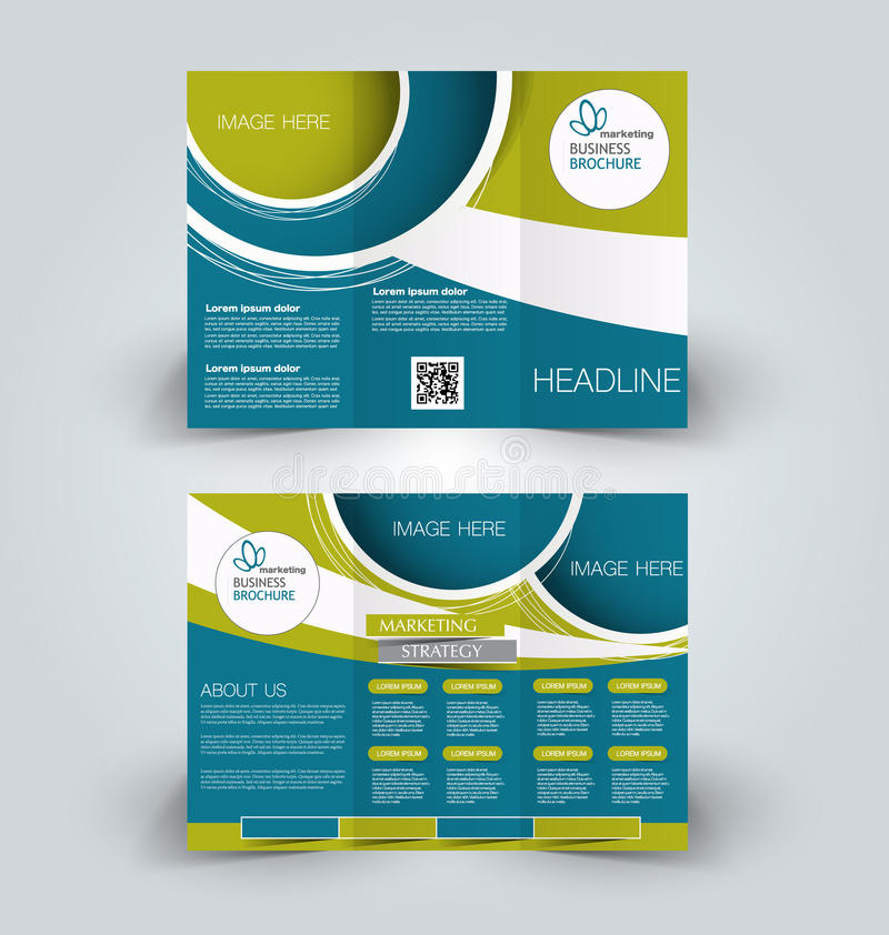 Brochure mock up design template for business, education, advertisement. Trifold booklet. Editable printable vector illustration. Green and blue color vector illustration
