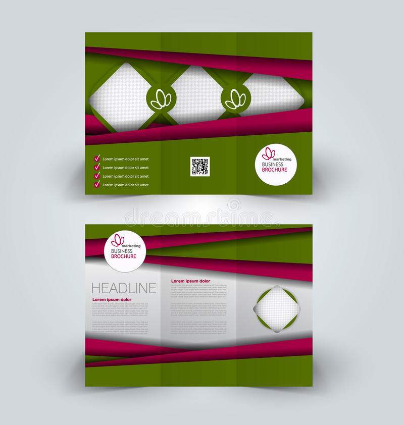 Brochure mock up design template for business, education, advertisement. Trifold booklet. Editable printable vector illustration. Green and red color royalty free illustration