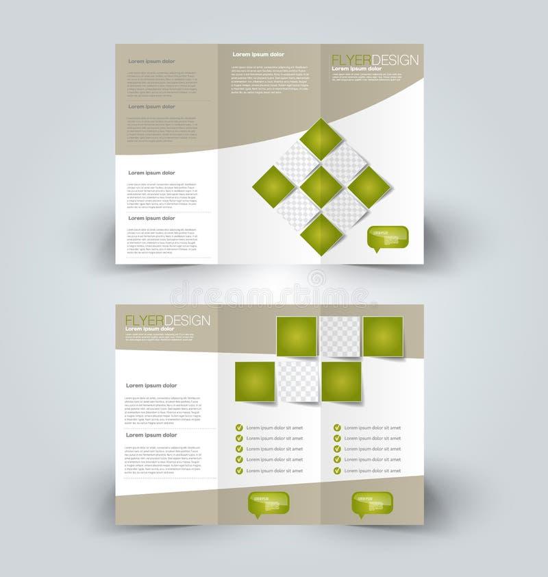 Brochure mock up design template. For business, education, advertisement. Trifold booklet editable printable vector illustration. Green color stock illustration