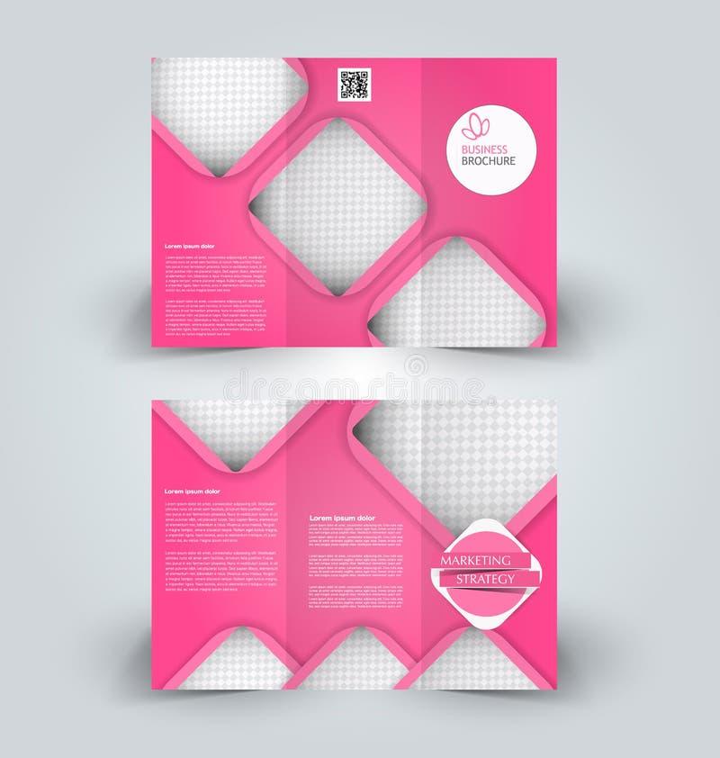 Brochure mock up design template for business, education, advertisement. Trifold booklet. Editable printable vector illustration. Pink color vector illustration
