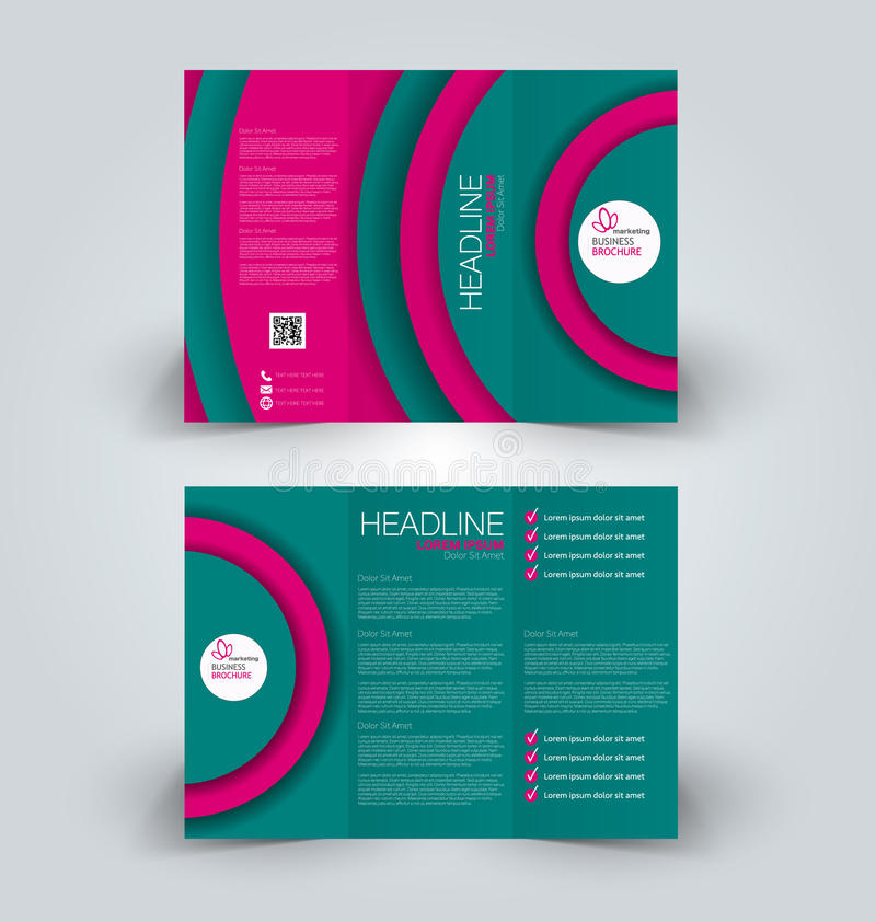 Brochure mock up design template for business, education, advertisement. Trifold booklet. Editable printable vector illustration. Pink and green color vector illustration