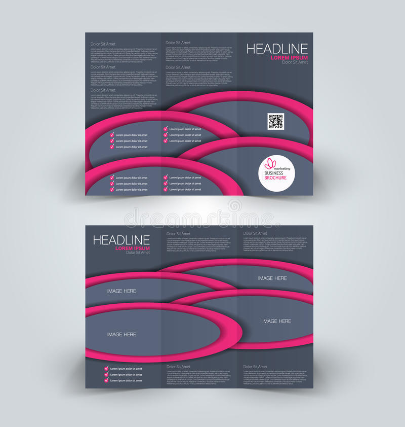 Brochure mock up design template for business, education, advertisement. Trifold booklet. Editable printable vector illustration. Pink and grey color stock illustration