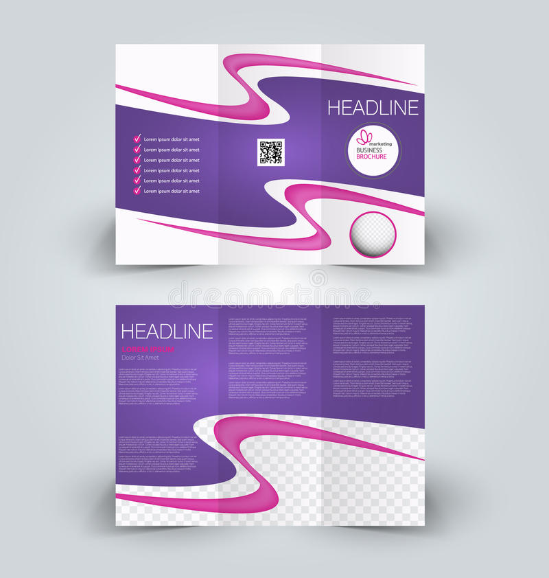 Brochure mock up design template for business, education, advertisement. Trifold booklet. Editable printable vector illustration. Pink and purple color stock illustration