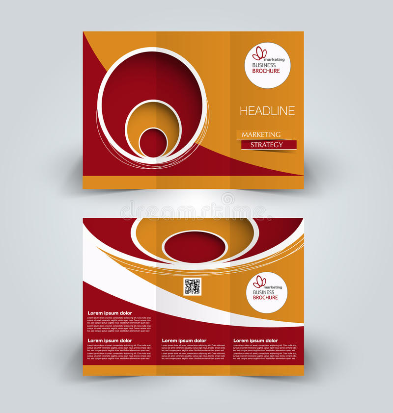 Brochure mock up design template for business, education, advertisement. Trifold booklet. Editable printable vector illustration. Red and orange color royalty free illustration