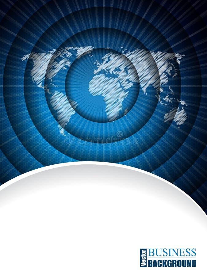 Brochure moderne d'affaires avec la carte du monde dans l'effet d'ondulation illustration stock